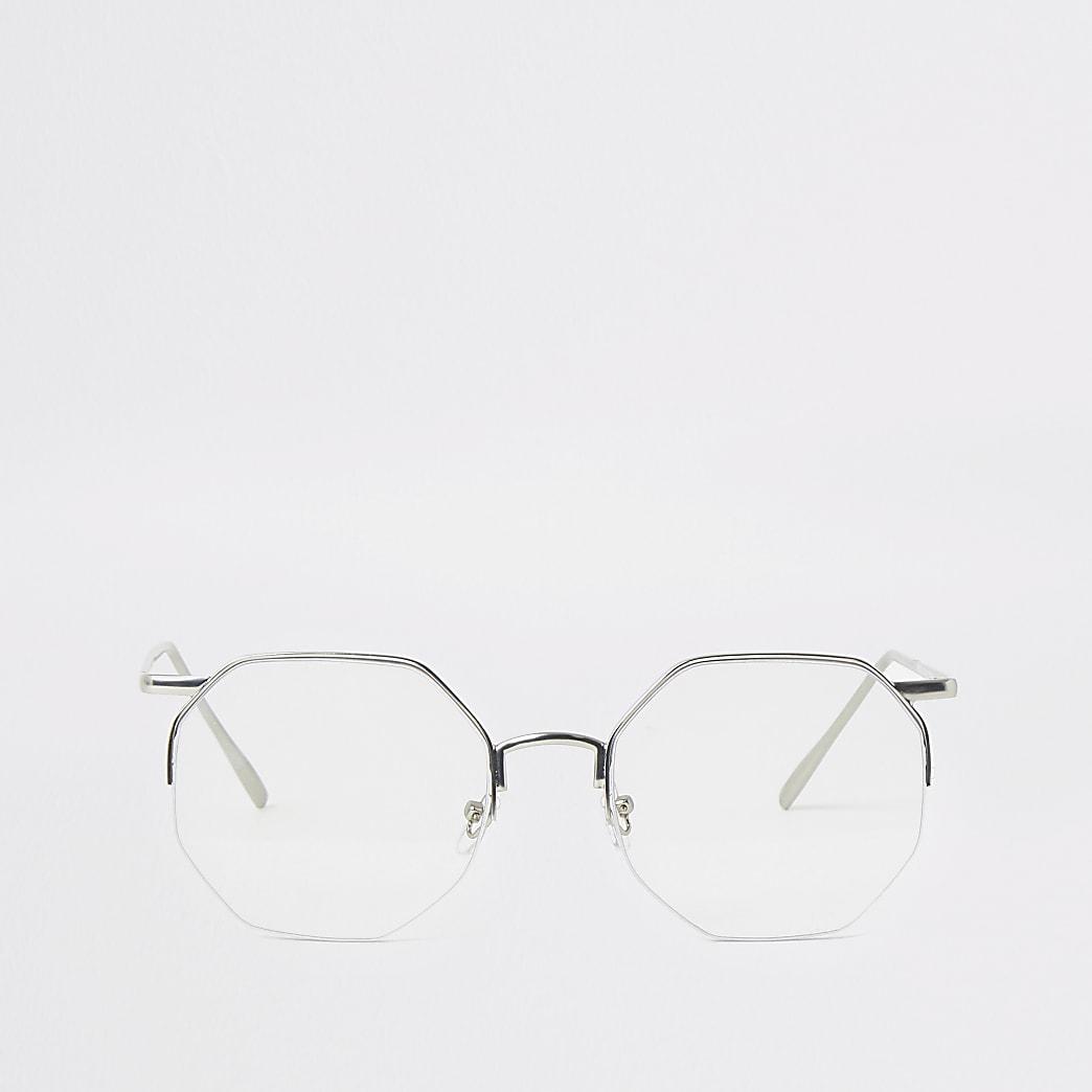 Zeshoekige zonnebril met heldere glazen