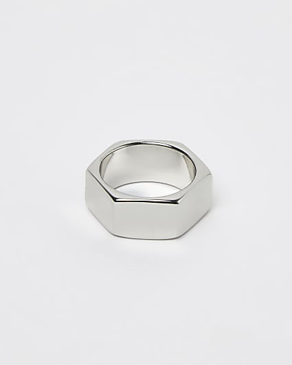 Silver hexagon nut ring