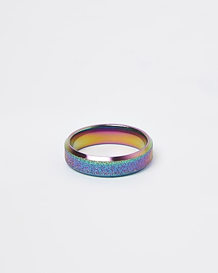 Silver iridescent glitter band ring