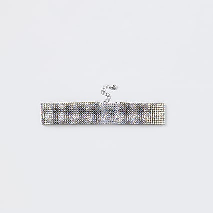 Silver iridescent rhinestone anklet
