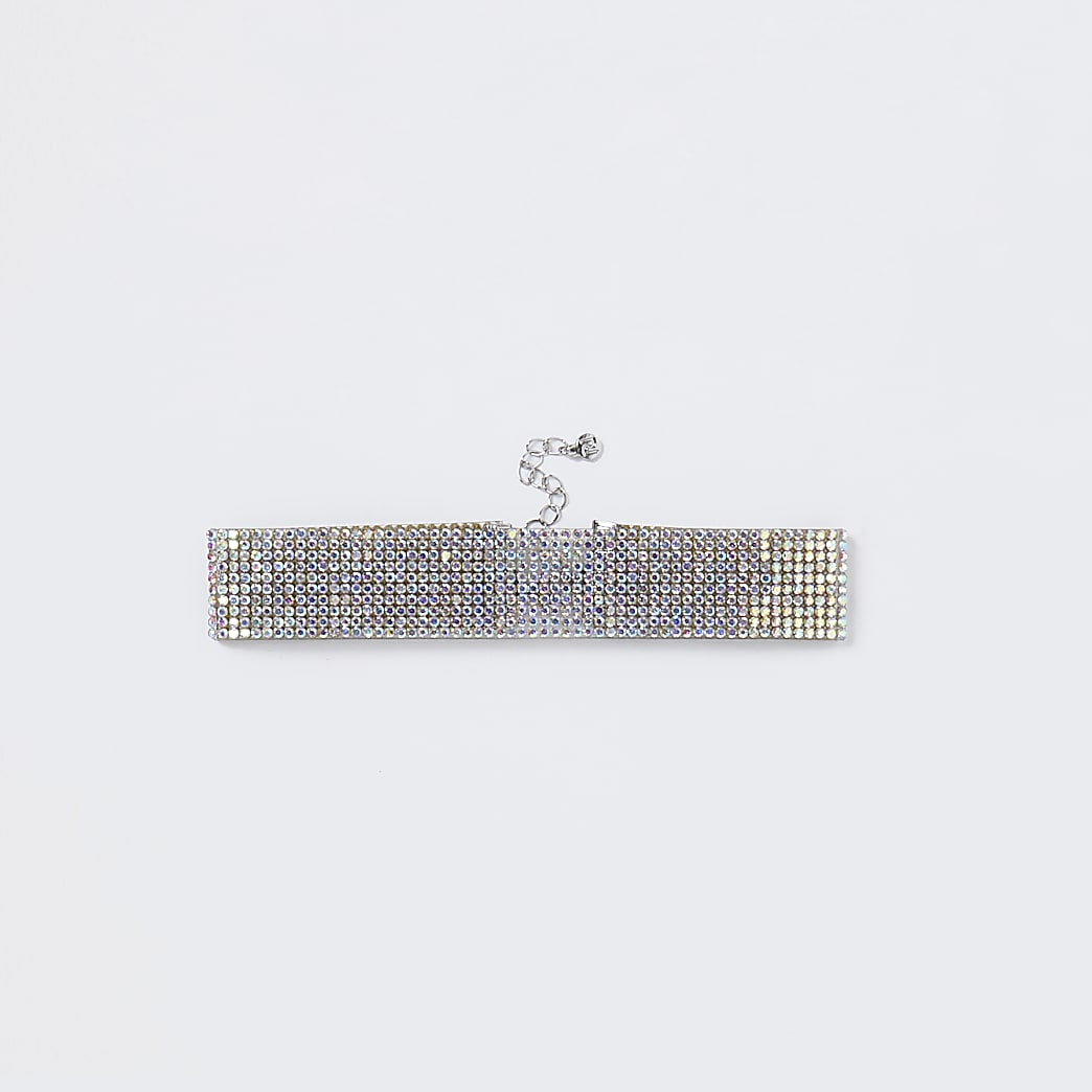 Silver iridescent rhinestone anklet