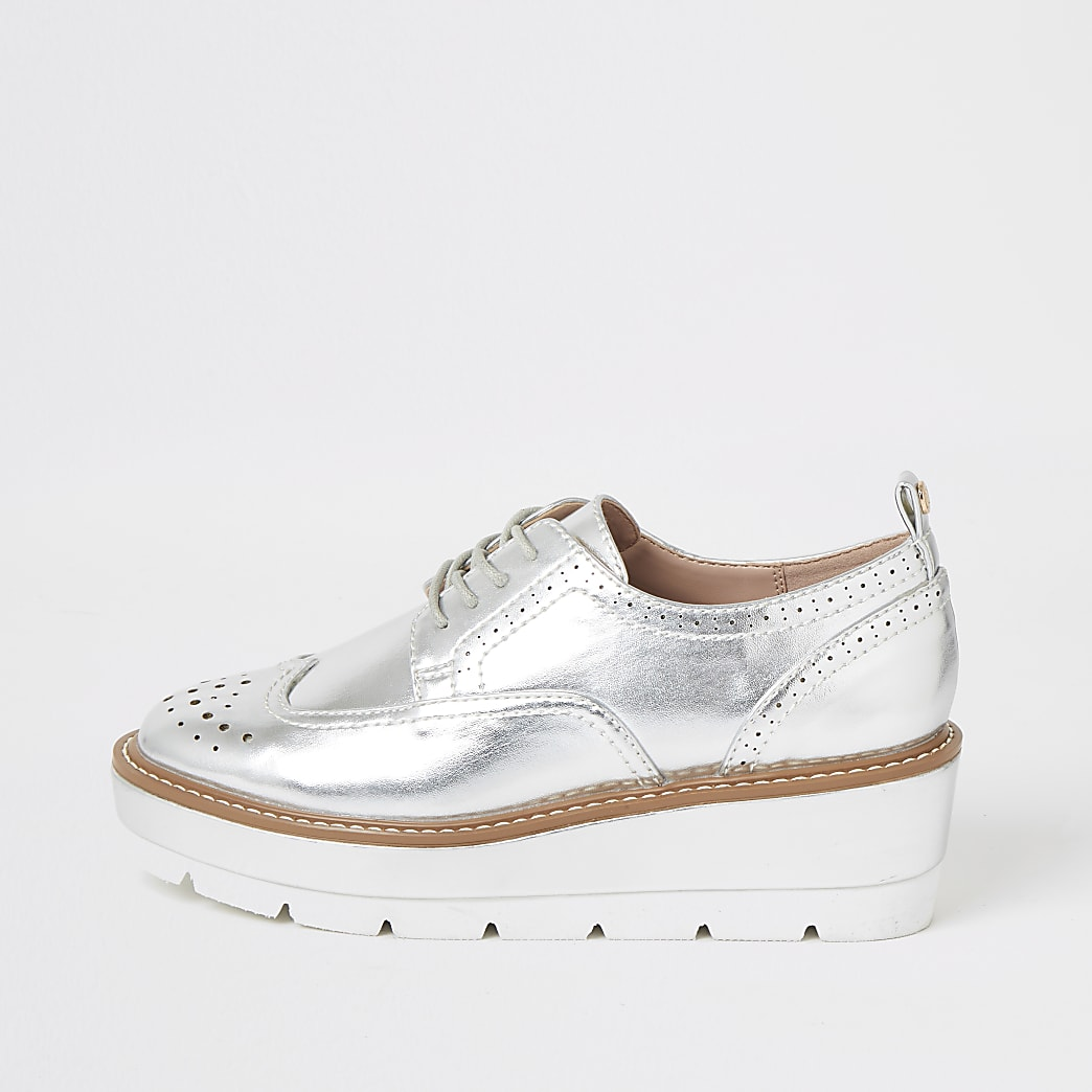 Silver lace-up flatform brogue shoes