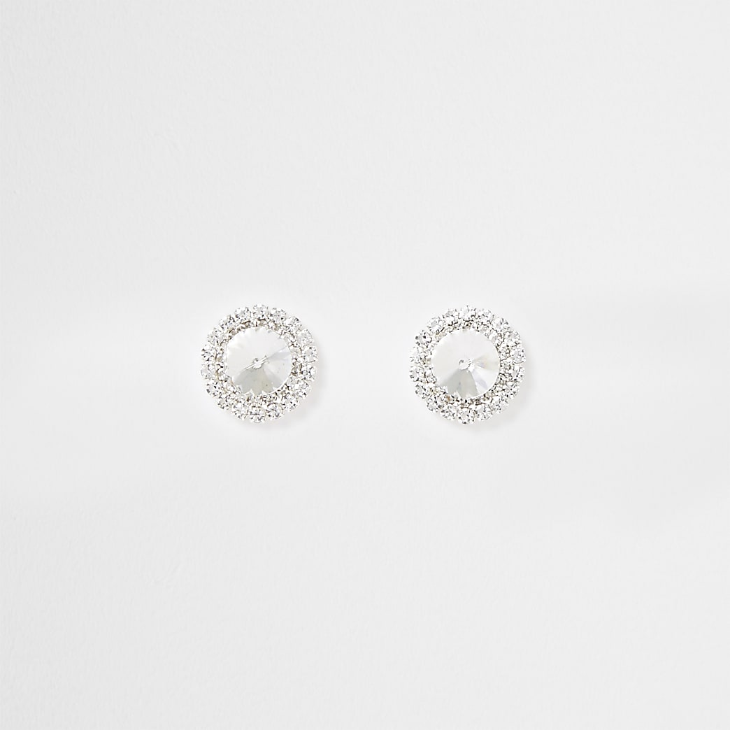 Silver large centre stone studs