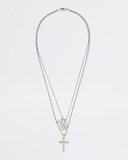 Silver layered cross necklace
