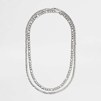 Silver layered curb chain necklace