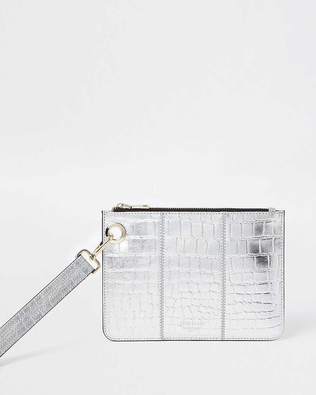 Silver leather croc embossed clutch handbag
