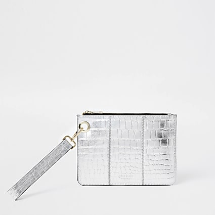 Silver leather croc embossed clutch handbag