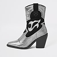 Silver leather cutout cowboy ankle boots