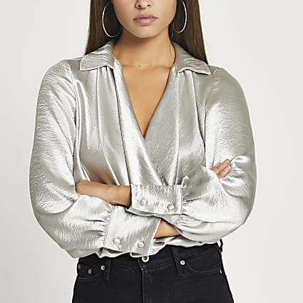 Silver long sleeve cowl neck blouse top