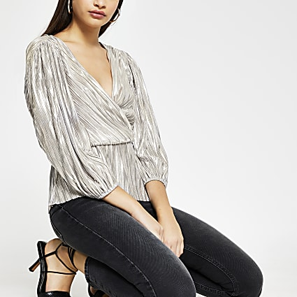 Silver long sleeve pleated peplum top