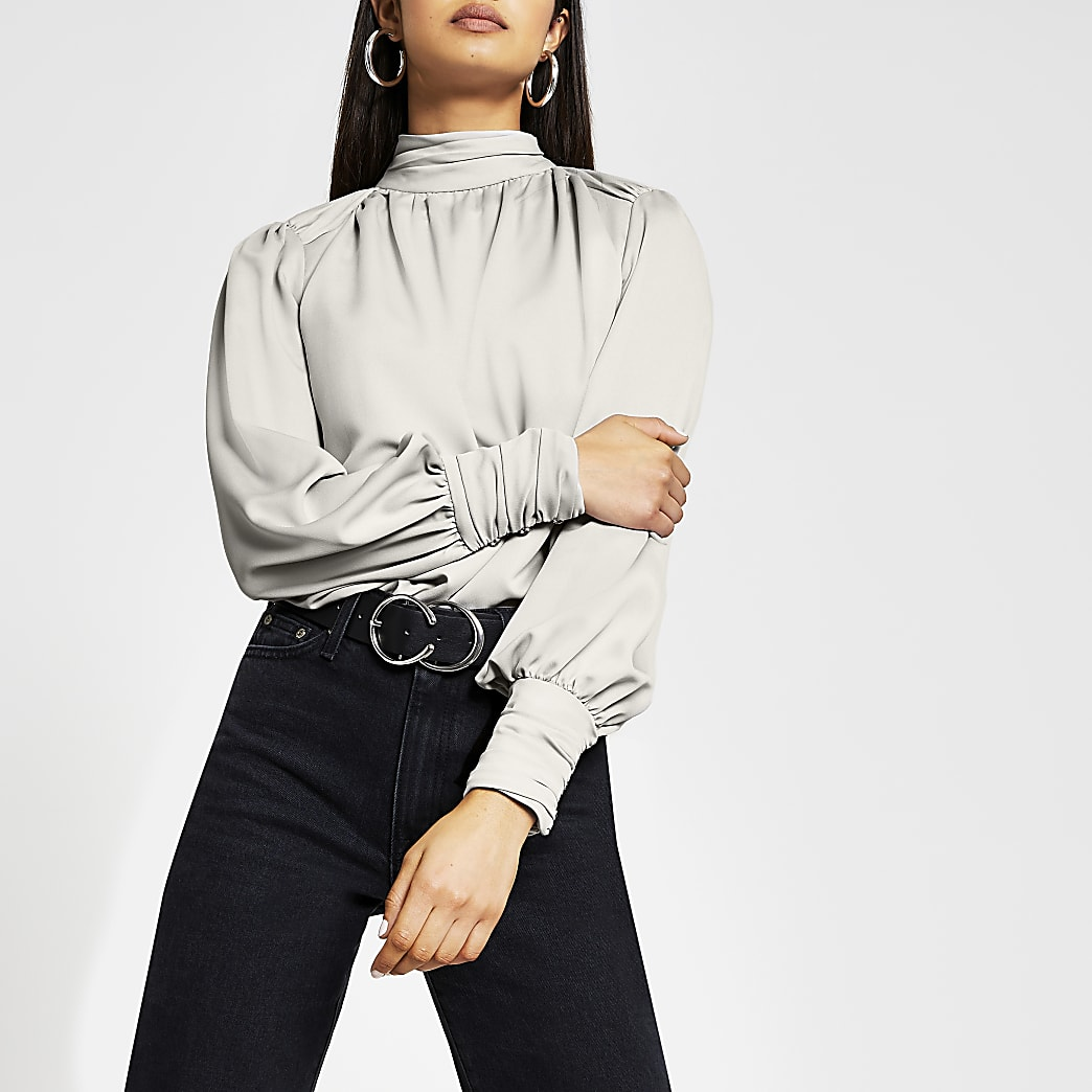 Silver long sleeve ruched shoulder top