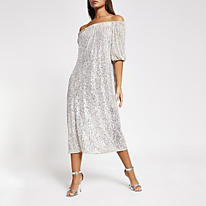 Silver long sleeve sequin bardot dress