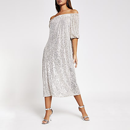 Silver long sleeve sequin bardot dress