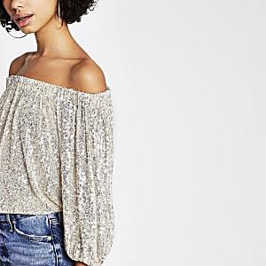 Silver long sleeve sequin bardot smock top