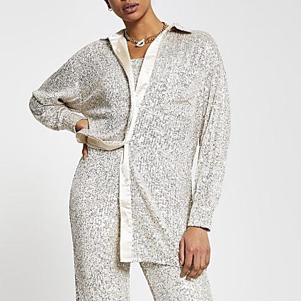 Silver long sleeve sequin shirt