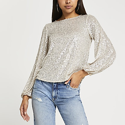 Silver long sleeve sequin top