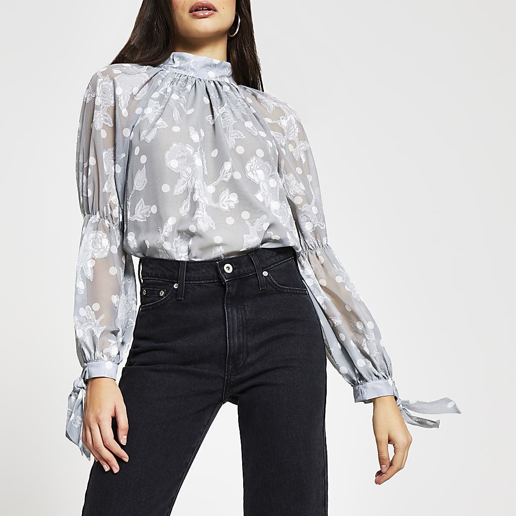 Silver long sleeve tie neck blouse