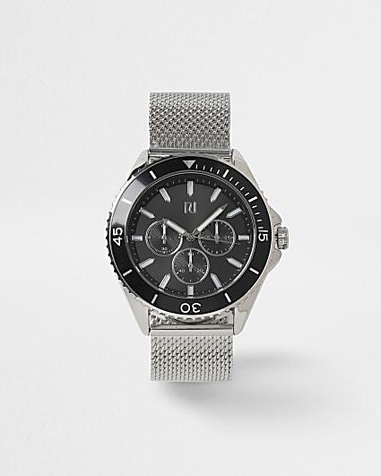 Silver mesh link strap watch