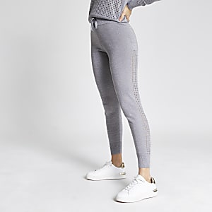 Silver mesh side knitted joggers