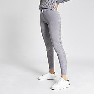 Zilverkleurige gebreide joggingbroek met mesh zijkant