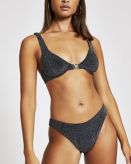 Silver metallic balconette bikini top
