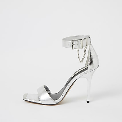 Silver metallic barely there heeled sandals