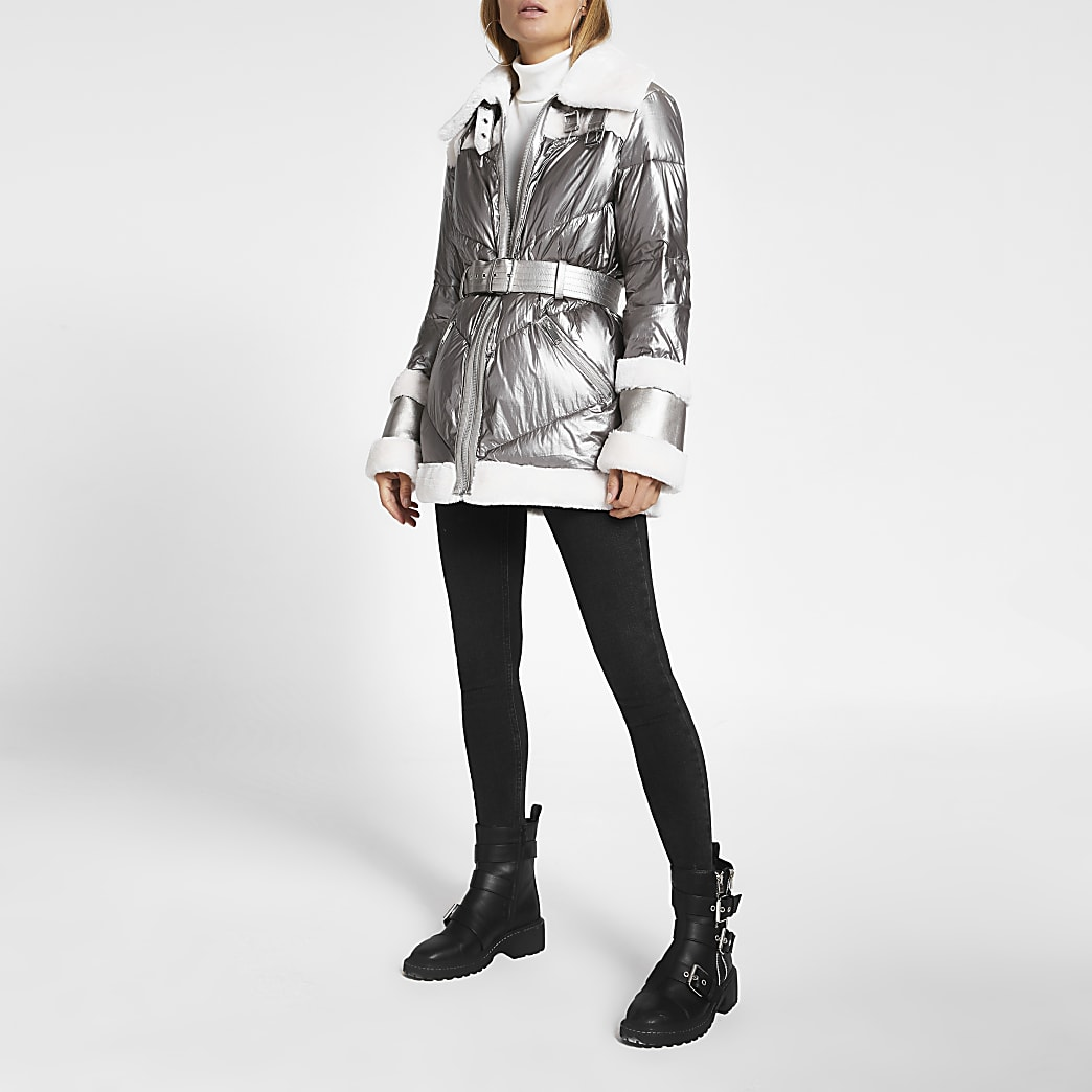 Silver metallic belted aviator padded coat