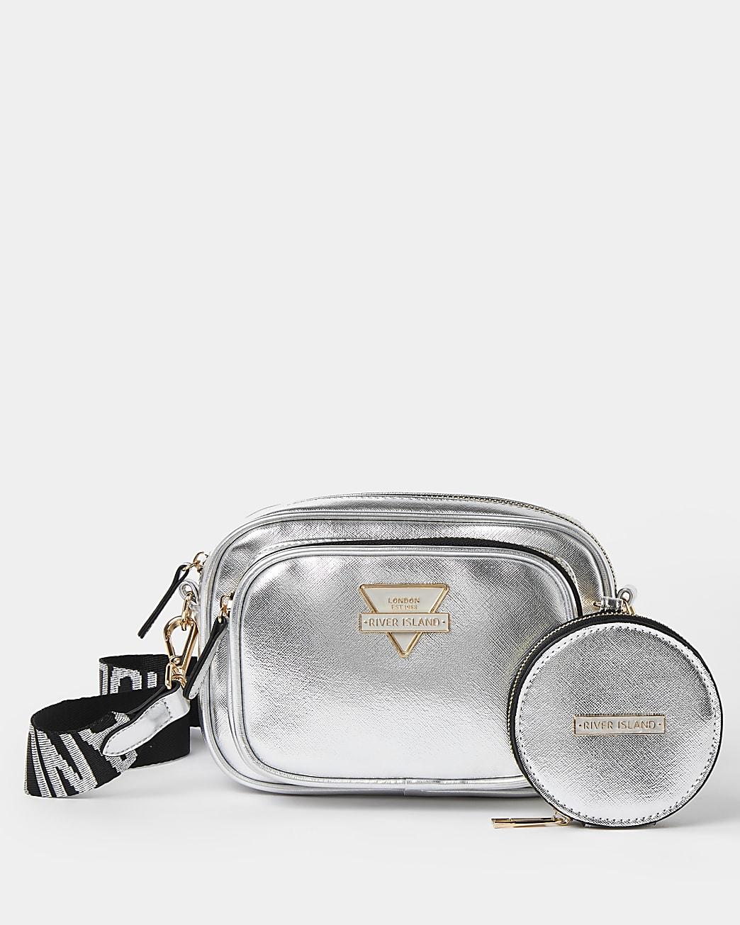 Silver metallic camera bag