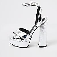 Silver metallic cross strap platform heels