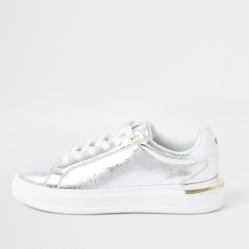 Silver metallic lace up trainers