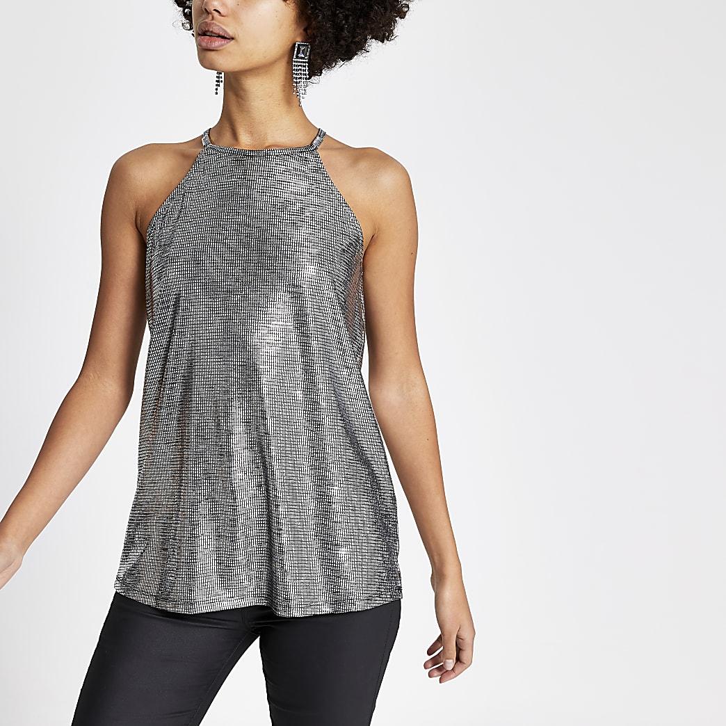 Silver metallic printed sleeveless top