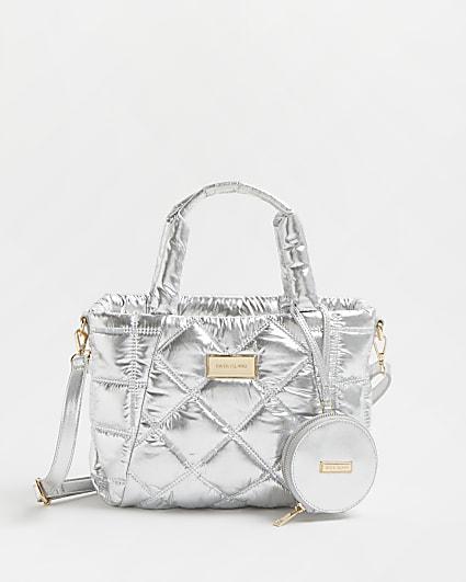 Silver metallic puffer tote bag