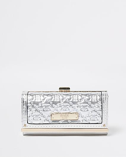 Silver metallic RI monogram embossed purse