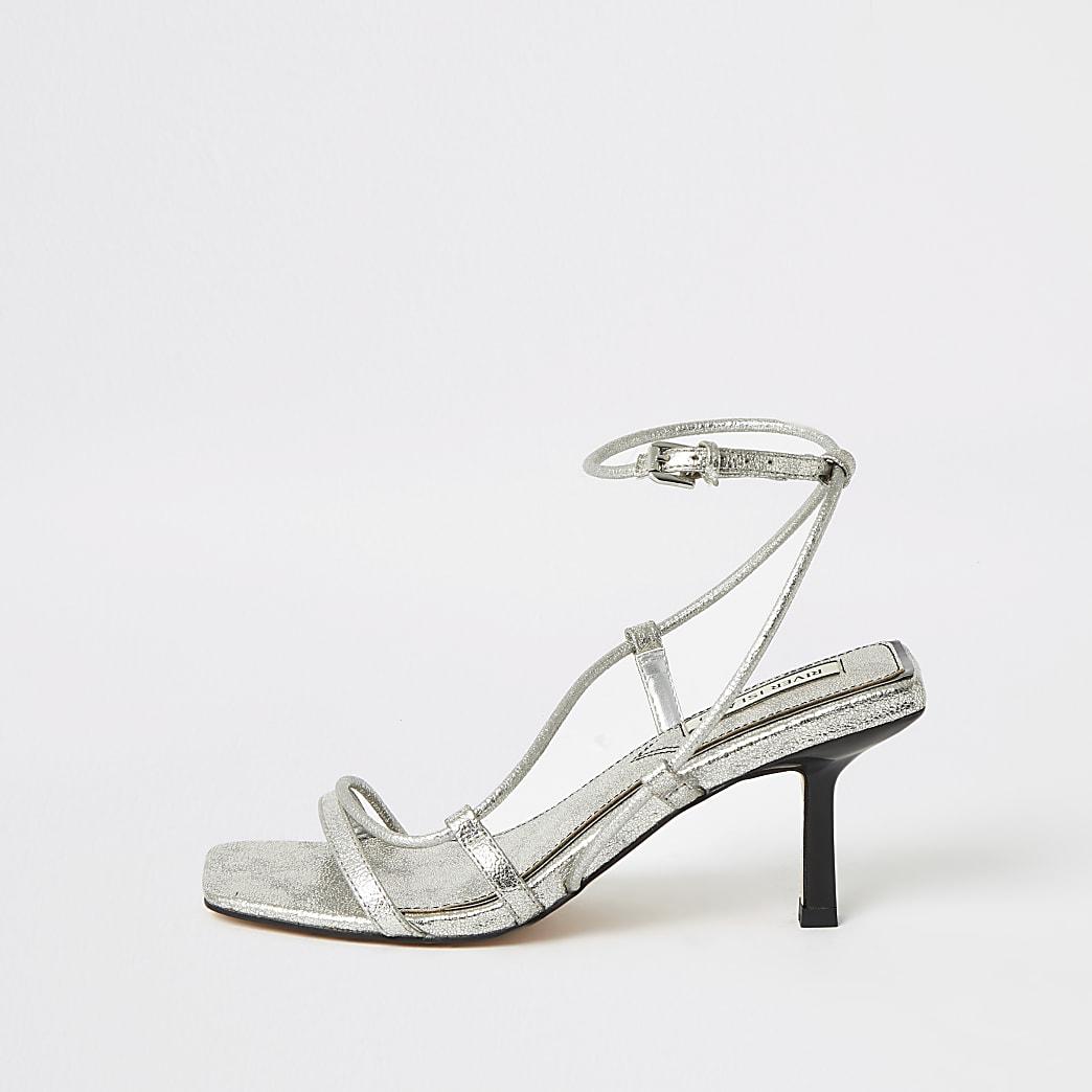 Silver metallic square toe midi heel sandals