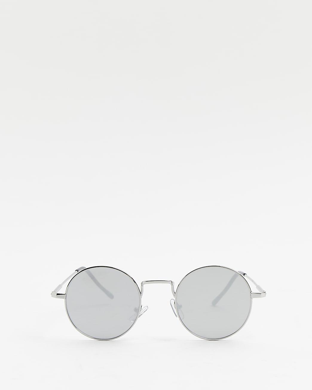 Silver mirrored round aviator sunglasses