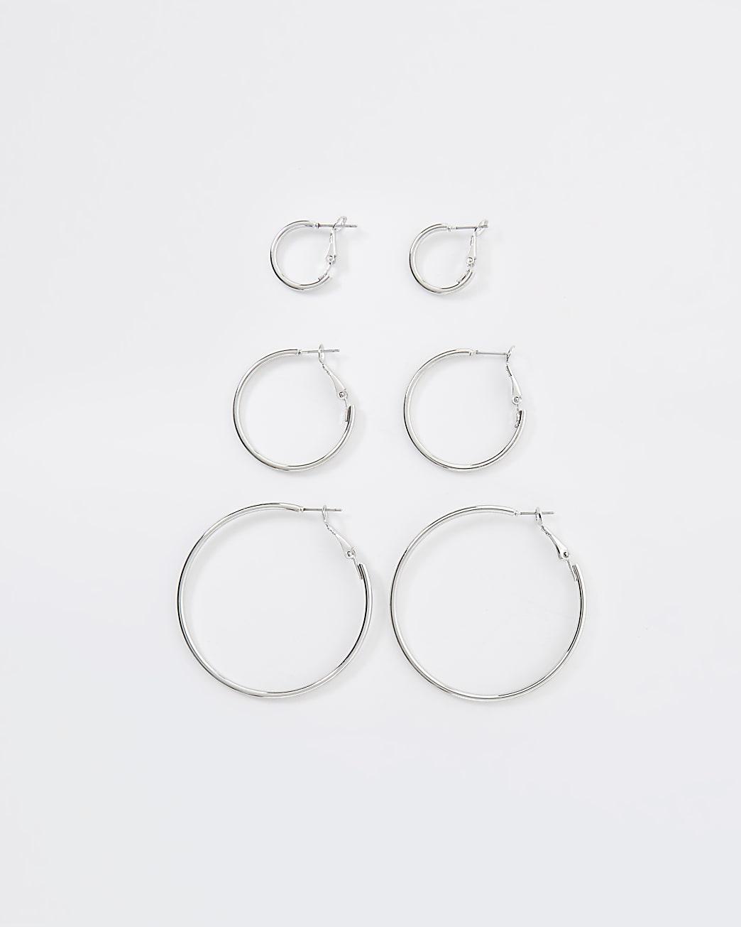Silver mix size hoop earrings multipack