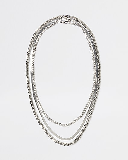 Silver mixed Chain 3 row necklace