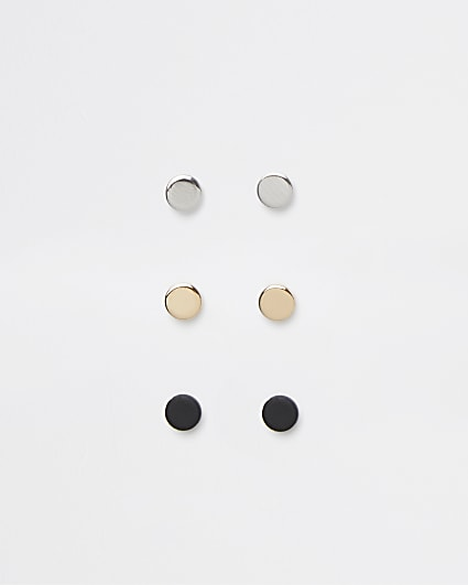 Silver mixed metal stud earring 3 pack