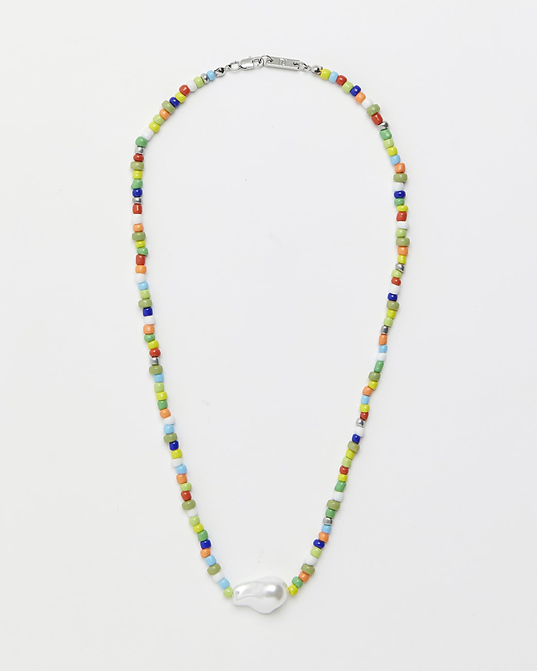 Silver multi coloured beaded necklace