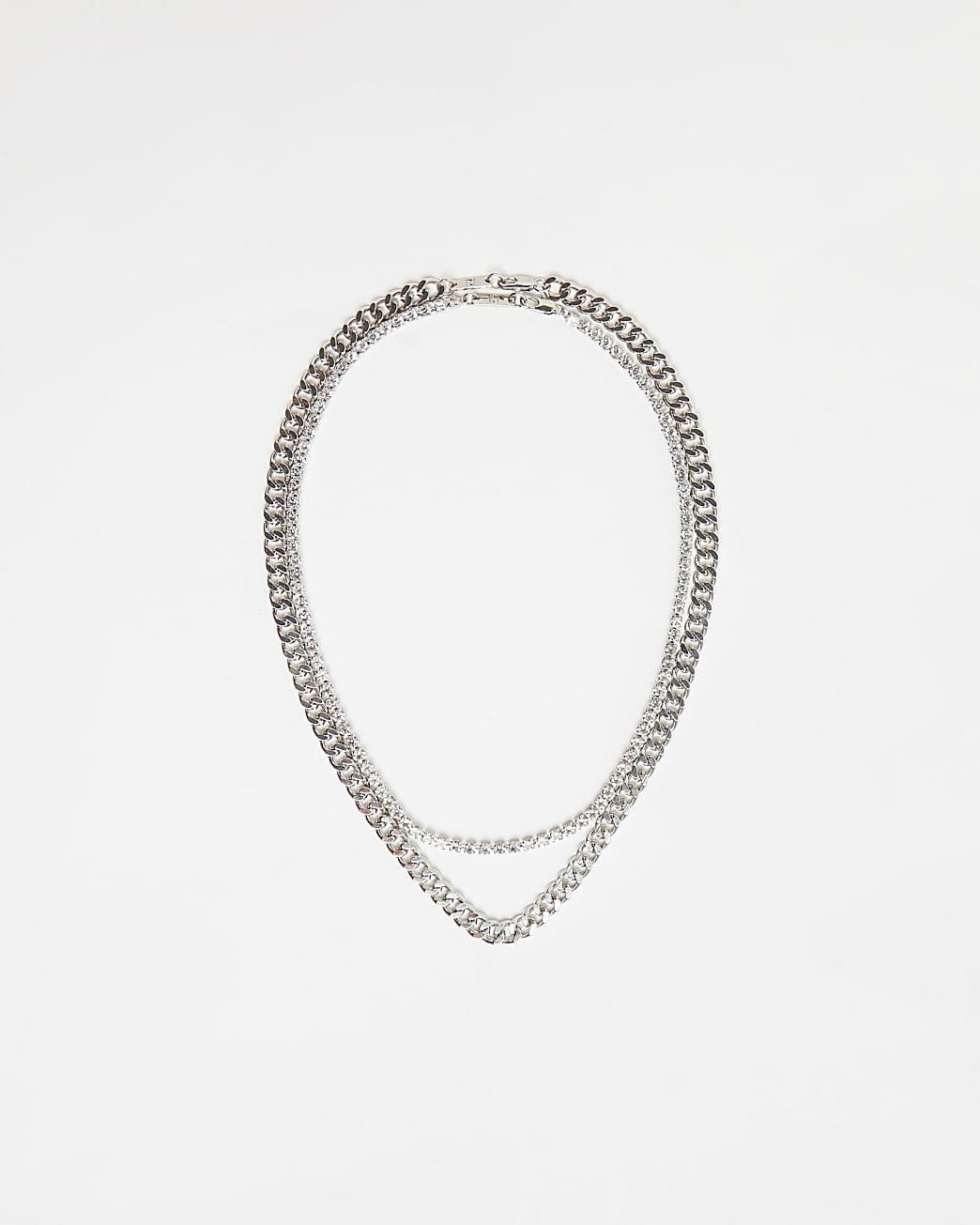 Silver multirow diamante chain necklace