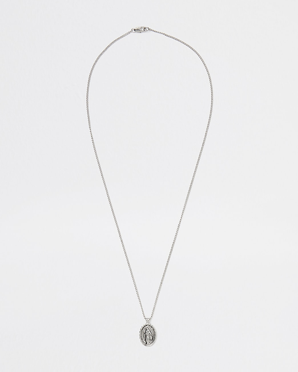 Silver oval embossed pendant necklace