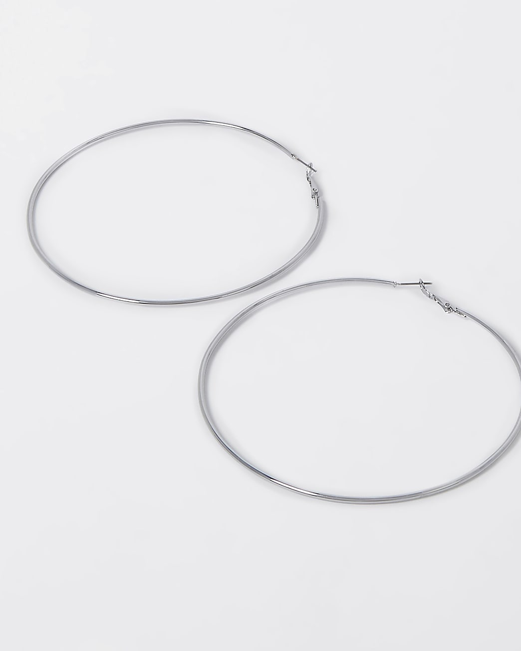 Silver oversized hoops
