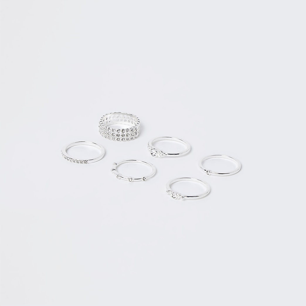 Silver Pave Engraved 9 pack Stacking rings
