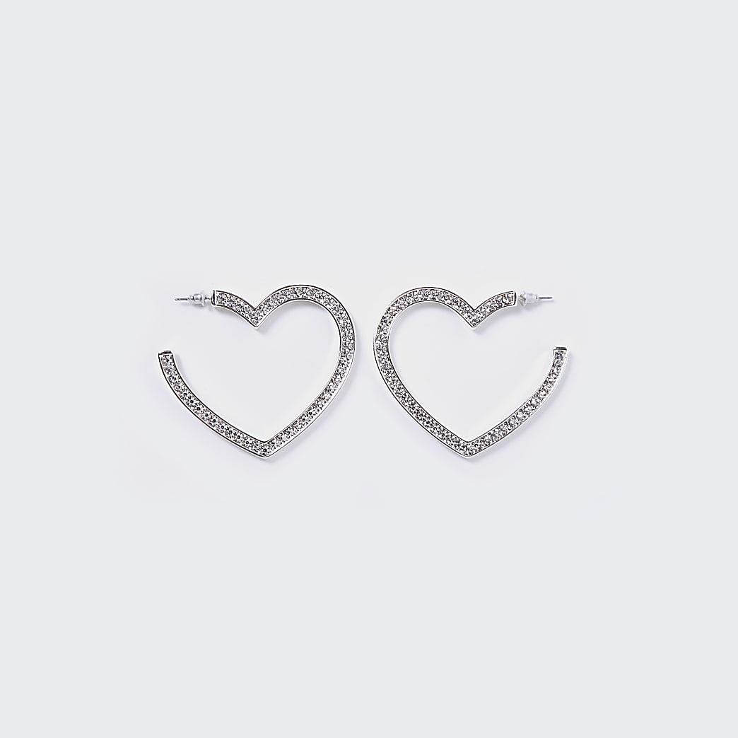 Silver pave heart hoop earrings