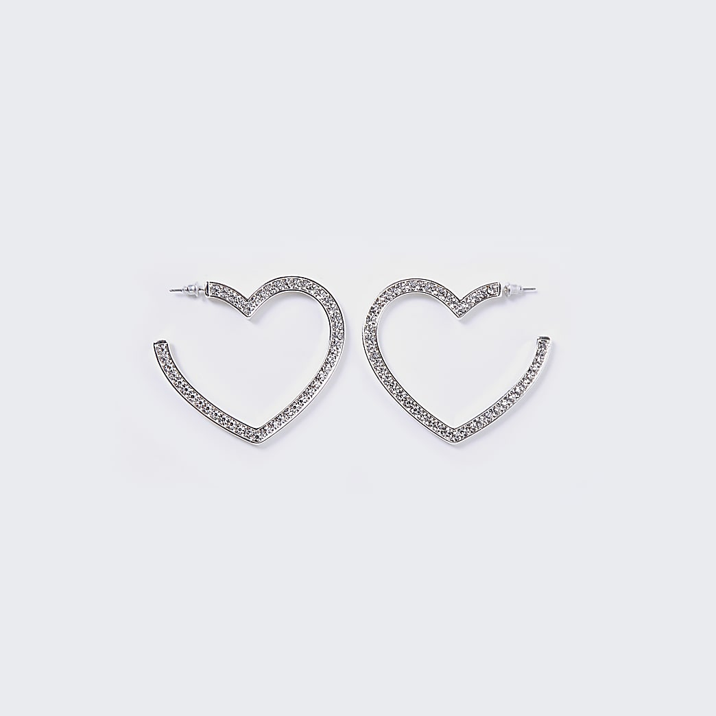 Silver Pave Heart Hoop