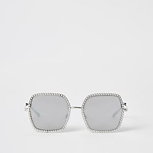 Silver pearl embellished sunglasses