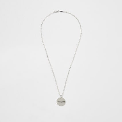 Silver plated Greek key coin necklace