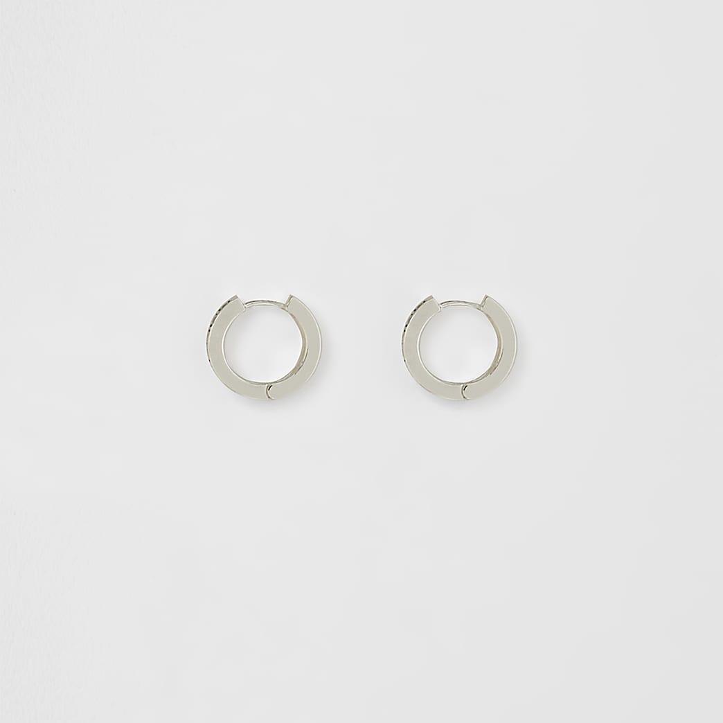 Silver plated Greek key hoop earrings