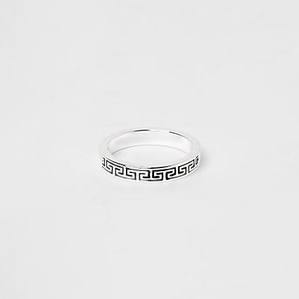 Silver plated greek key ring