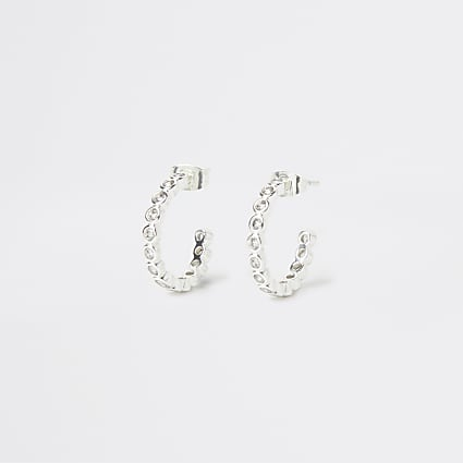 Silver Plated Round Crystal Hoops